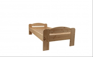 Pat din lemn DUMBO 2/2 - pentru 1 persoana - 90 x 200 cm