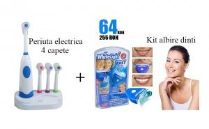 Periuta electrica cu 4 capete incluse + Kit albire a dintilor