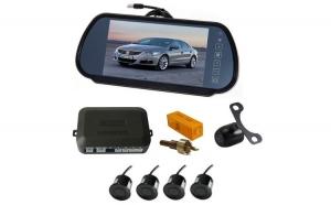 """Senzori parcare cu camera video si display LCD de 7"""" in oglinda T24"""