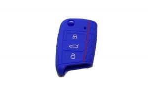 Husa cheie auto din silicon WV Golf 7/ Jetta , Skoda Octavia 2013-, Seat 2013-,  Albastru