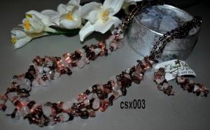 Colier si Cercei din Cristale de Cuart Multicolor, la doar 95 RON in loc de 200 RON