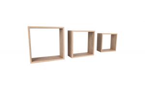 Set de 3 etajere, cub, colturi drepte, 30 x 30 x 11.7 cm, 27 x 27 x 11.7 cm, 24 x 24 x 11.7 cm, stejar inchis