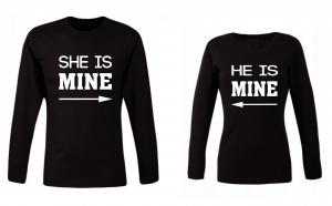 """Set de bluze pentru cupluri """"He/ She is Mine"""""""