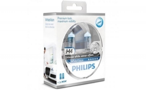 Set 2 Becuri auto far halogen Philips H4 White Vision -  12V -  55W