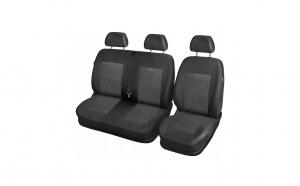 Huse scaune autoutilitara 2+1, negru cu gri