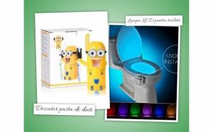 Dozator pasta de dinti Minions pentru copii + lampa LED pentru toaleta