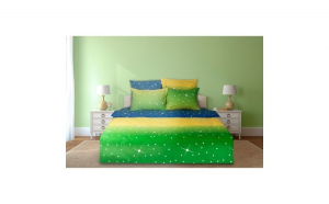 Lenjerie dubla Heinner Home, din bumbac, 6 piese, 144TC, Green Stars