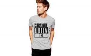 Tricou barbati gri cu text negru - Straight Outta Tei