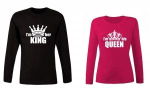 """Set de bluze pentru cupluri """"I'm her King/ his Queen"""""""