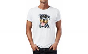 Tricou barbati  Rotweiler, Bumbac 100%, Imprimeu Digital, 13 CLOTHING, Culoare Alb