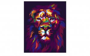 Tablou Canvas Pop Art Lion 75 x 95 cm rama de lemn ascunsa margini printate