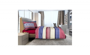 Lenjerie de pat pentru 2 persoane, Heinner Home, din bumbac, burgundy, 4 piese