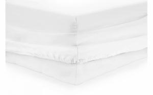 Cearceaf alb pentru pat, cu elastic - 100% bumbac
