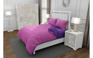 Lenjerie de pat matrimonial cu husa elastic pat si 4 huse perna cu mix dimensiuni, Duo Pink, bumbac satinat, gramaj tesatura 120 g mp, Roz Mov, 6 piese