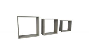 Set de 3 etajere, cub, colturi drepte, 30 x 30 x 11.7 cm, 27 x 27 x 11.7 cm, 24 x 24 x 11.7 cm, beige-gri
