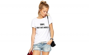 """Tricou dama alb  """"Sorry, i only date models"""""""