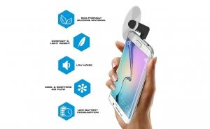 Ventilator mini portabil pentru telefon si tableta, port micro USB, ALB