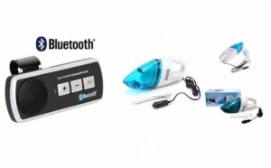 Pachet auto: Car kit cu Bluetooth + Aspirator Auto, la doar 75 RON in loc de 155 RON