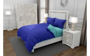 Lenjerie de pat matrimonial cu 4 huse perna dreptunghiulara, Duo Bluemarin, bumbac satinat, gramaj tesatura 120 g mp, Albastru Turcoaz, 6 piese
