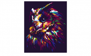 Tablou Canvas Pop Art Owl 95 x 125 cm rama de lemn ascunsa margini printate