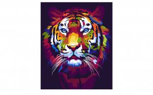 Tablou Canvas Pop Art Tiger 50 x 75 cm rama de lemn ascunsa margini printate