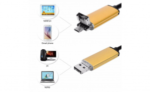 Camera endoscopica de inspectie 2 in 1 android pc micro usb 6 led