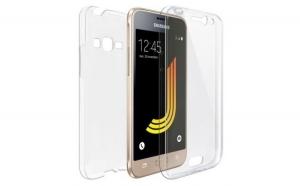 Husa Samsung J1 2016 Flippy Full Tpu 360 V2 Transparent cu margini albe