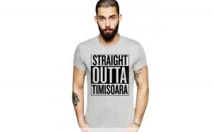 Tricou barbati gri cu text negru - Straight Outta Timisoara