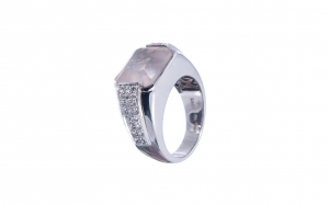 Inel unisex din aur alb 14K cu diamante