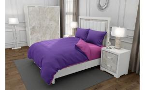 Lenjerie de pat matrimonial cu husa elastic pat si 4 huse perna patrata, Duo Purple, bumbac satinat, gramaj tesatura 120 g mp, Mov Roz, 6 piese