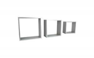 Set de 3 etajere, cub, colturi drepte, 30 x 30 x 11.7 cm, 27 x 27 x 11.7 cm, 24 x 24 x 11.7 cm, gri