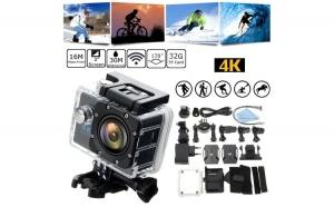 Camera sport ActionCam SJ9000 UltraHD 4K @ 30fps WiFi 16.0MP negru, pachet complet cu accesorii
