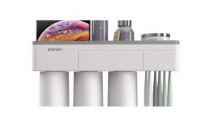 Suport 3 pahare magnetice si dispenser pasta de dinti, cu 6 periute