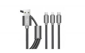 Cablu de date 3 In 1, pentru Iphone 5/6 + Micro Usb + Type C, Negru, pentru telefon si tableta - C191