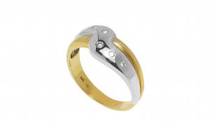 Inel din aur 14K cu 5 diamante, 0.08 ct.