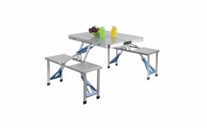 Masa pliabila pentru picnic din aluminiu cu 4 scaune