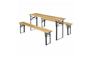 Set mobilier gradina/berarie din lemn de brad lacuit, masa 170 x 46 x 77, banci 170 x 23 x 47 cm Black Friday Romania 2017