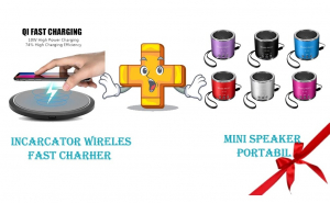 Pachet incarcator wireless + mini speaker portabil