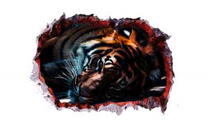 Sticker decorativ, Gaura in perete 3D, Tigru, 85 cm, 393STK