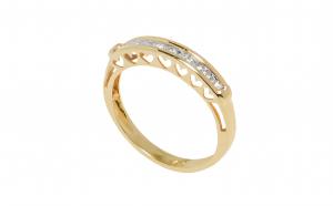 Inel din aur galben 14K cu 9 diamante
