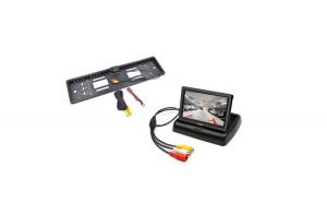 "Pachet Suport numar inmatriculare cu camera video marsarier + Display pliabil LCD TFT 4.3"""