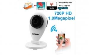 Camera WiFi IP - monitorizare wireless prin telefon, 720P, card memorie