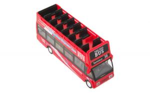 Autobuz turistic de jucarie cu sunete si lumini.14x4x6 cm. rosu