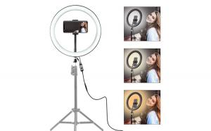 Lampa circulara cu suport selfie, putere de 60W pentru foto, make-up, cosmetica Black Friday Romania 2017