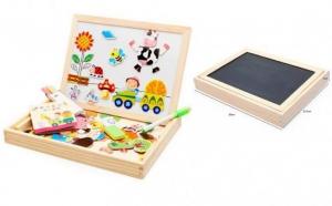Tabla de scris din lemn 3 in 1 cu doua fete si puzzle
