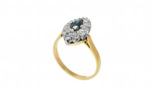 Inel din aur 18K, safir si diamante