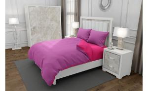 Lenjerie de pat matrimonial cu husa elastic pat si 4 huse perna cu mix dimensiuni, Duo Pink, bumbac satinat, gramaj tesatura 120 g mp, Roz Fucsia, 6 piese