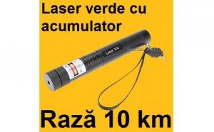 Laser puternic Verde 3D cu Acumulator, Raza 10 KM cu Proiectii si Zoom, la 65 RON in loc de 150 RON