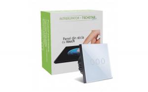 Intrerupator Touch Techstar®  Sticla Securizata  Design Modern  Iluminare LED  3 Faze  Alb