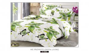 Lenjerie de pat 6 piese realizata din bumbac finet - model Green Butterflies